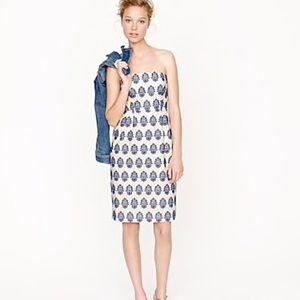 J.Crew Filigree Embroidered Strapless Beach Dress